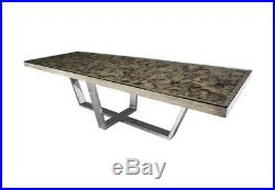 120 Long Contemporary Dining Table Shell Glass Escade Stainless Steel Base 801