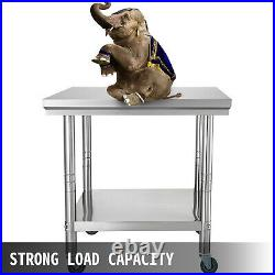 24x36 Kitchen Stainless Steel Work Table Storage Food With 4 Caster Wheels