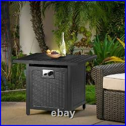 28 Square Gas Fire Pit Propane 50000 BTU Fire Pit Table withLid, Lava Rocks, Cover