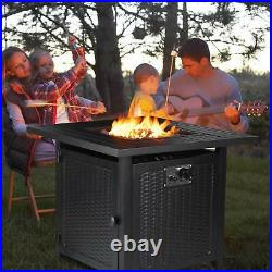 28''Steel Propane Gas Fire Pit Table 50,000 BTU Square Firepit Camping Fireplace