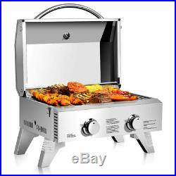 2 Burner Portable Stainless Steel BBQ Table Top Propane Grill Outdoor Travel