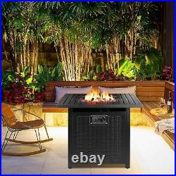 30 Inch Propane Gas Fire Pit 50,000 BTU Auto-Ignition with Waterproof Table Cover