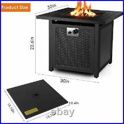 30 Propane Gas Fire Pit Table 50000 BTU Outdoor Courtyard Heater Patio with Cover