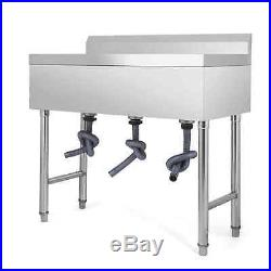 37.5X19 3 Compartment Stainless Steel Sink Kitchen Bar Wash Table Basin