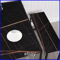 3pcs Counter Dining Table Set Faux Marble Table 2 Chairs Kitchen Bar Furniture