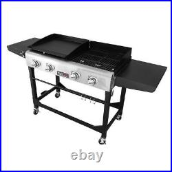 4-burners portable propane gas grill and griddle combo grills in black with si