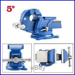 5 Mechanic Bench Vise Table Top Clamp Press Locking Swivel Base Heavy Duty New