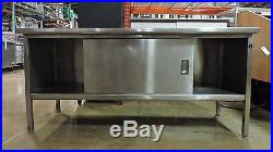 72 x 30 Stainless Steel Work Table with Cabinet and Edlund #2 Can Opener