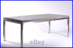 83 spectacular dining table desk solid concrete slab top stainless steel legs