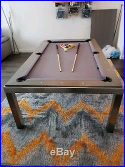 Aramith Brushed Stainless Steel w Grey Oak Wood Top Fusion Pool Table