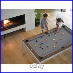 Aramith Brushed Stainless Steel w White Top Fusion Pool Table w Benches