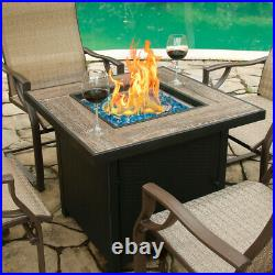 BALI OUTDOORS 30 Square LP Gas Fire Table Propane Gas Fireplace with Blue Glass