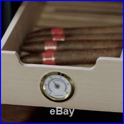 Compact Home Cigar Humidor Cooler Spanish Cedar Stainless Steel Touch Screen LED