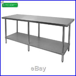 Flat Top Work Table Stainless Steel Top 24x84