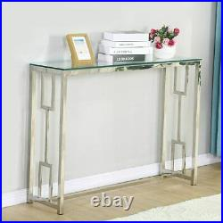 Glass Vanity Table Silver Glass Console Sofa Tables Hallway Bedroom Entryway