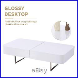 High Gloss Rectangular White Coffee Table Side End Table Stainless Steel Leg
