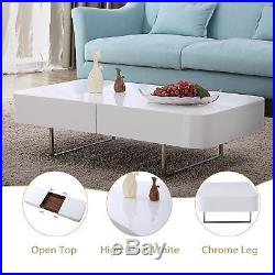 High Gloss White Coffee Table with Center Storage Space & Chrome Legs Living Room