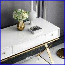 Homary Wood Makeup Vanity with 2 Drawers Mirror Makeup Table&Chair Set in Gold