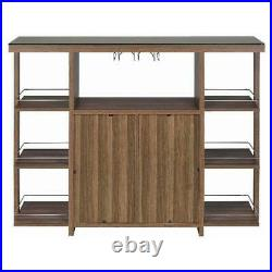 Home Mini Bar Furniture With Tempered Glass Top Buffet Table with Wine Racks Shelf