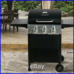 MASTER COOK 3 Bunner Classic Liquid Propane Gas Grill with Folding Table Black