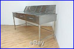 Mid Century Stainless Steel Mail Sorter Desk Table Industrial Vintage Medical