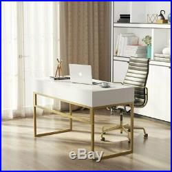 Modern 47 Home Office Desk with 2 Storage Drawers White and Gold Console Table
