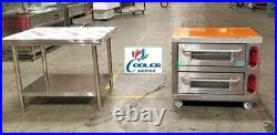 NEW Commercial Double Electric Pizza Oven Bakery with Stainless Steel Table 220V