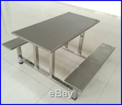 NEW Stainless Steel Picnic Style Table with Bench Chair Seats Outdoor Restaurant