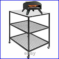 Outdoor Pizza Oven and BBQ Table with Wheels for Ooni Dallonda Nero Fresh Grills