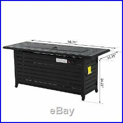 Outsunny 57 Black Bronze Aluminum Rectangular Patio Gas Fire Pit With Table Lid