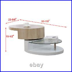 Oval Rotating Coffee Table with Glass in White Gloss Finished Modern Furniture