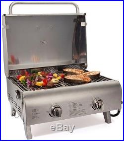 Portable BBQ Grill Gas Propane Stainless Steel 20,000 BTU Table Top Chef Style