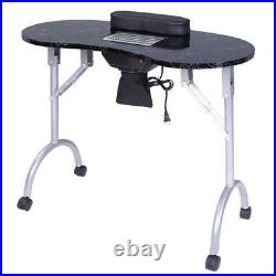 Portable Vented Nail Manicure Table Desk With Cushion Carry Bag Black Foldable
