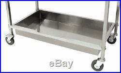 Rolling Stainless Steel Serving Cart Kitchen Working Table Food Casters Shelving