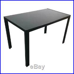 Set Of Glass Metal Dining Table Furniture and 4 Chairs Breakfast Kitchen Room