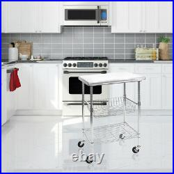 Seville Classics Stainless Steel Nsf Kitchen Work Table Cart, 24 Wx20 Dx36h