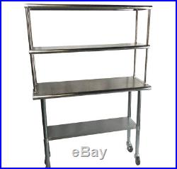 Stainless Steel Work Prep Table 24 x 36 Double Overshelf 12 x 36 & Casters