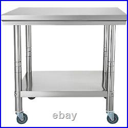 Stainless Steel Work Prep Table 36x 24 with Adjustable Double Overshelf