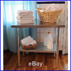 Stainless Steel Work Table Kitchen Center Island Storage Utility Counter Cart