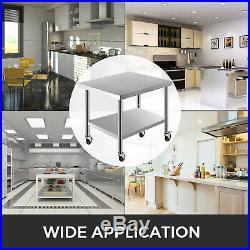 Work Table with Wheels 30X36 Commercial Kitchen Stainless Steel 4 Casters